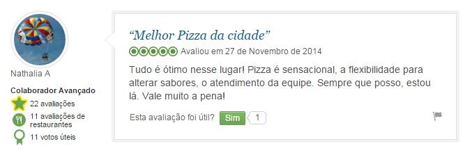 Recomendações de clientes no perfil da Fornarina Pizza